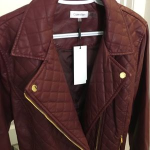 """NWT Calvin Klein red """"leather"""" jacket"""